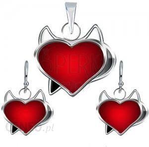dcf27834 BiżuteriaE-Shop Zestaw kolczyki i zawieszka ze srebra 925 - czerwone serce  diabełek