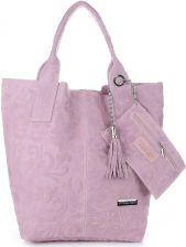 7de4b37f6ab09 VITTORIA GOTTI Made in Italy Torebka Skórzana Shopperbag w Tłoczone Wzory  Pudrowy Róż ...