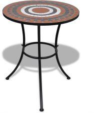 vidaXL Stolik mozaikowy 60 cm terracotta / biały