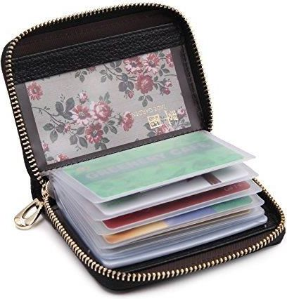 08357a902f135 Amazon zoress damski portfel z prawdziwej skóry etui na karty kredytowe na  zamek błyskawiczny karty kredytowej