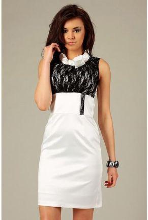 88a6474970 Vera Fashion Elegancka biała sukienka z czarną koronką - Nicole