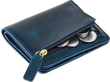 42b9aa6bb57ed Amazon kattee portfel damski RFID Blocking Brief torba skórzana mała  Bifold, kolor: niebieski