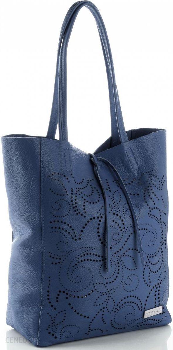 057483bdf1e38 Modne Ażurowe Torebki Skórzane ShopperBag firmy Vittoria Gotti Jeansowe  (kolory) - zdjęcie 1
