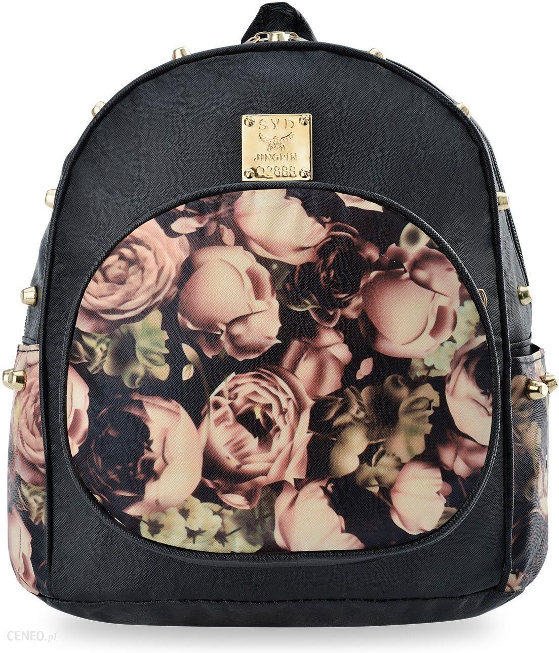 b577424731b9a Plecaczek damski z kwiatowym wzorem i rockowym akcentem miejski plecak  kwiaty ćwieki - czarny - zdjęcie