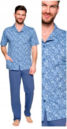 7468c0dfe10af7 piżama rozpinana Taro Gracjan 921 02 bawełna - M