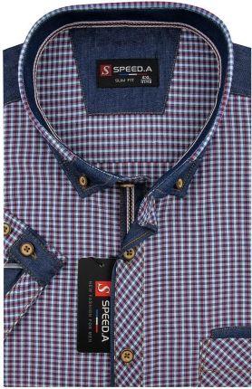 c626a9f9342b Koszula Męska Speed.A czerwona w drobną kratkę z dodatkami jeans na krótki  rękaw duże
