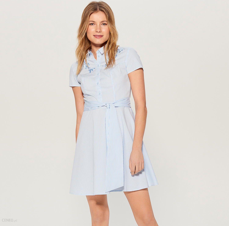 27710d95 Mohito - Koszulowa sukienka z paskiem - Niebieski - Ceny i opinie -  www.projektniejest.pl