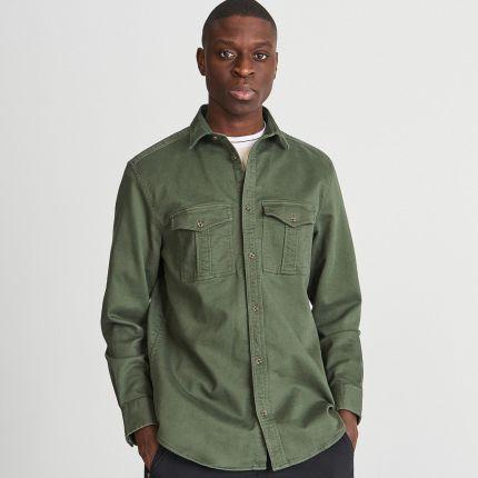 1b510555a71d29 Reserved - Koszula comfort fit z kieszeniami - Zielony ...