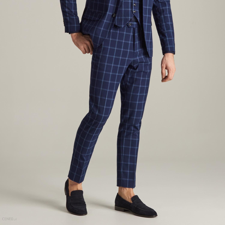 544ea4f2f47c5 Reserved - Spodnie garniturowe w kratę - Granatowy - Ceny i opinie ...