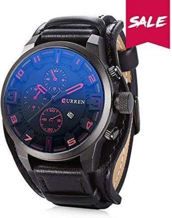 0cf6714459299 Amazon CURREN męski zegarek kwarcowy z wyświetlaczem cyferblat analogowy  chronograf, Casual Sport zegarki na rękę