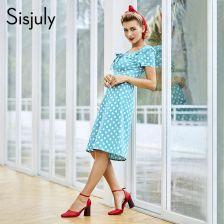 09b8f3ab98 AliExpress Sisjuly kobiety w stylu vintage sukienka w groszki bowknot  prosto damska sukienka biurowa w stylu