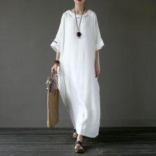 f4d66e8adc AliExpress Letnie Sukienki Na Co Dzień Sukienka Lniana Pościel Hafty  Kobiety Bialy Sukienka Oryginalny Ponadgabarytowych Marki