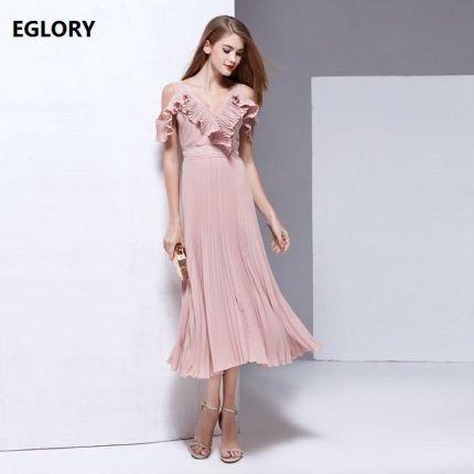 89ac21276067e AliExpress New High Fashion Party Panie Sexy Backless Wieczór 2017 Lato  Kobiety Dekolt Ruffles Floral Design