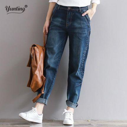 d83f690799 AliExpress 2019 Boyfriend Jeans Harem Spodnie Damskie Spodnie Na Co Dzień  Plus Rozmiar Loose Fit Rocznika