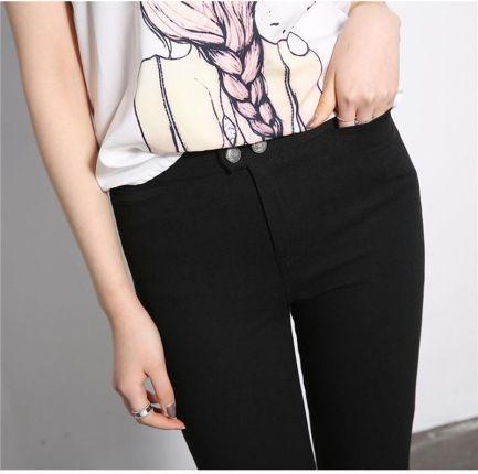e777a1b57e739b AliExpress 2019 ołówek spodnie kobiety przycisk Zipper kostek spodnie  kobiety w pasie spodnie skinny fit Plus