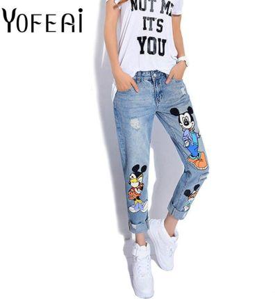 16ea877de8 AliExpress YOFEAI 2018 Jeans Kobiety Na Co Dzień Denim Kostki Długości  Spodnie Chłopaka Kobiet Druku Spodnie