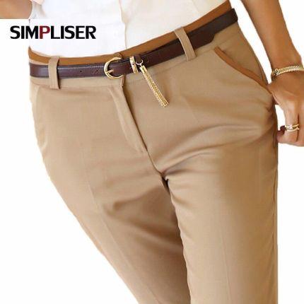e72910102713f7 AliExpress Wysokiej jakości kobiety formalna urząd pracy spodnie czarny  beżowy panie firm ołówek spodnie plus size