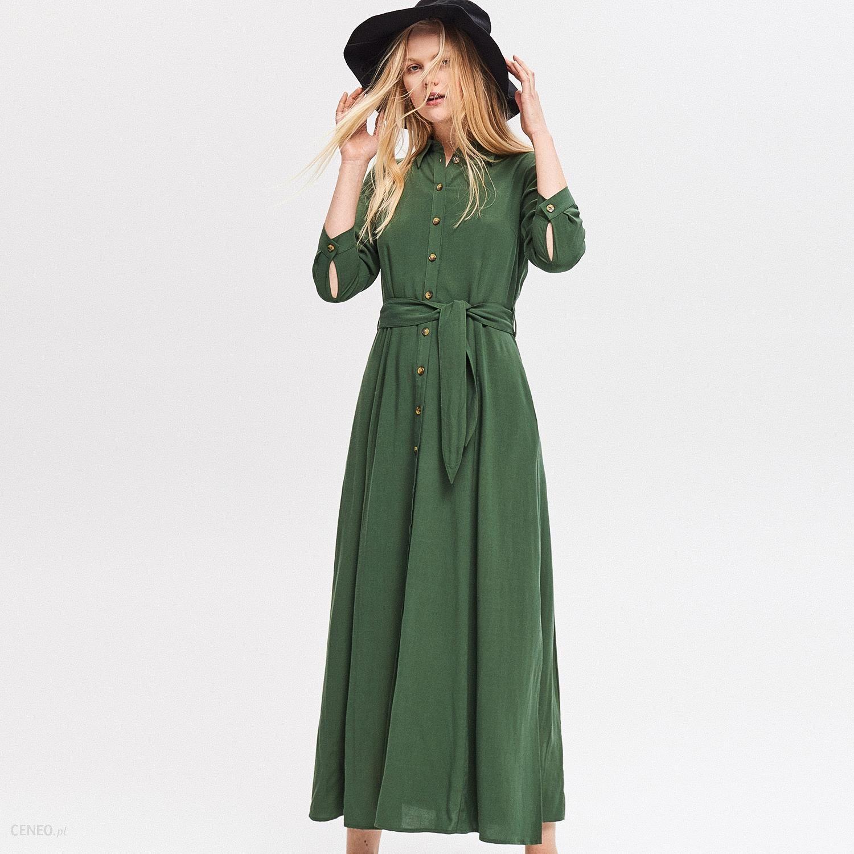 8260af41047294 Reserved - Sukienka maxi z lnu i wiskozy - Khaki - Ceny i opinie ...
