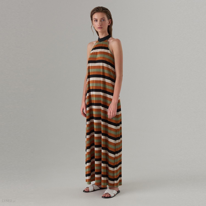 b11f83b7 Mohito - Maxi sukienka z dekoltem halter - Brązowy - Ceny i opinie -  tranquilskinandbeauty.com.au