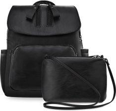 50e8a7b79bf20 Miejski plecak damski plecaczek z klapą i kieszonkami skóra eko +  listonoszka - czarny