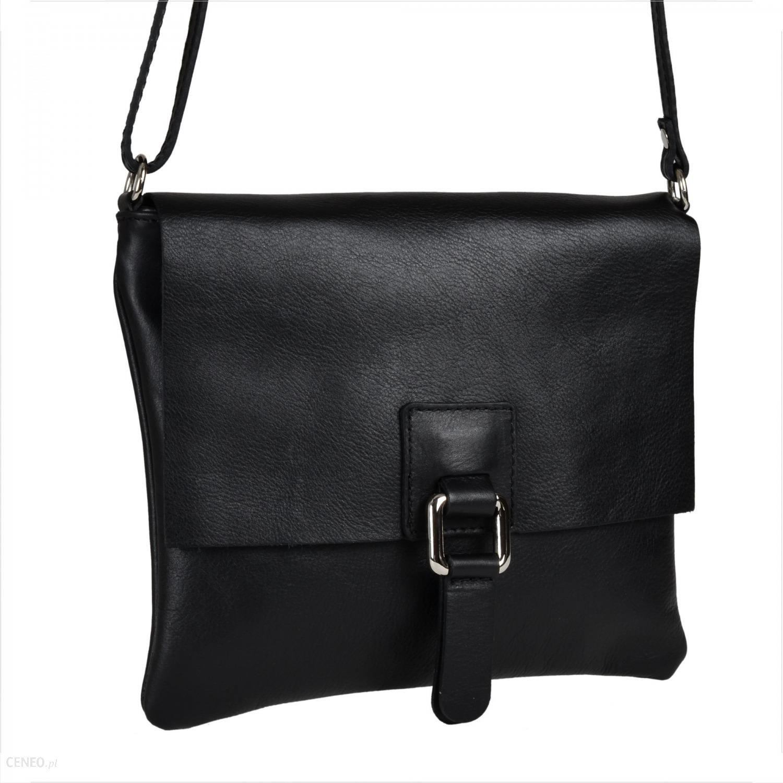 d126d534626df Genuine Leather Modna skórzana listonoszka czarna z klapą - Ceny i ...