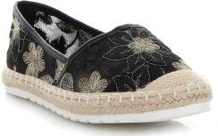 9bac430116b84 Modne Espadryle Damskie w kwiaty firmy Ideal Shoes Czarne (kolory) ...