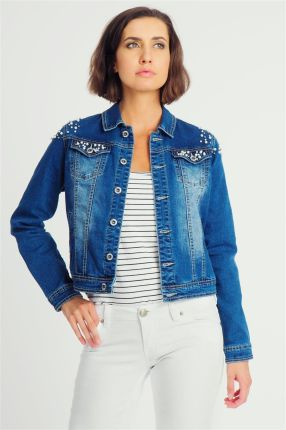 a435707de97b8e Kurtka jeansowa damska z koralikami niebieska Fresh Made