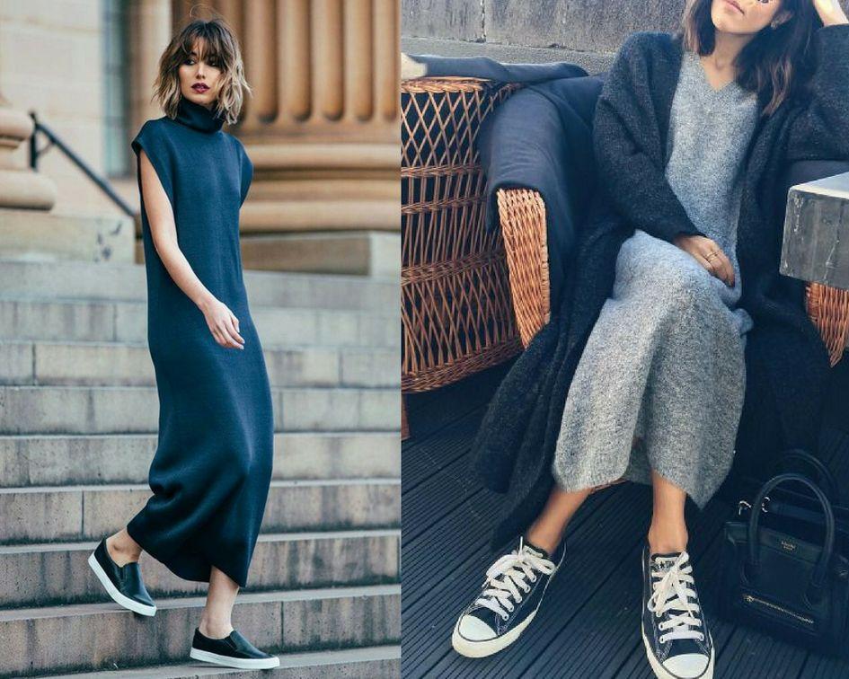 Buty sportowe + spódniczkasukienka – podpowiadamy jak nosić
