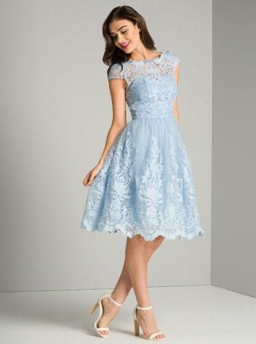 Sukienka Midi Niebieska Wesele ślub Koronkowa Tiulowa Chi Chi London
