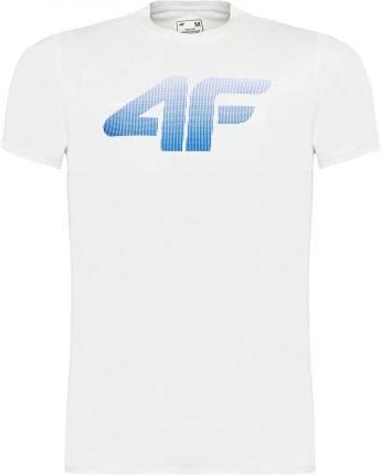 4F Koszulka Męska Bawełniana T Shirt Sportowy Biały - Ceny i opinie T-shirty i koszulki męskie HHIR