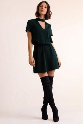 Sukienka Francesca Z Chokerem 292 Zielona Uni Zielony Ceny I Opinie Ceneo Pl