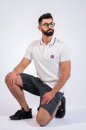 TOMMY HILFIGER POLO JERSEY Biały S - Ceny i opinie T-shirty i koszulki męskie LSUD