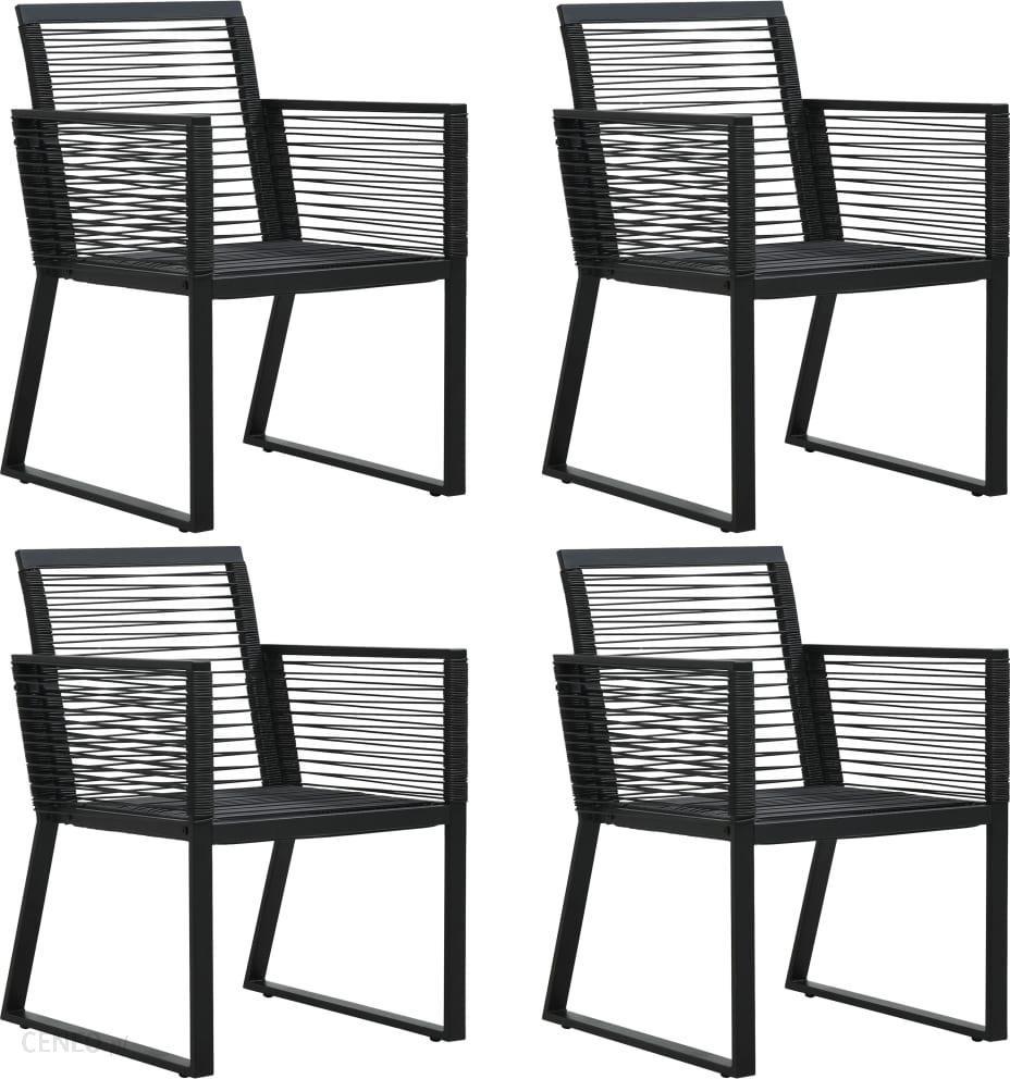 Vidaxl Krzesła ogrodowe, 4 szt., z rattanowego sznurka, czarne 312160