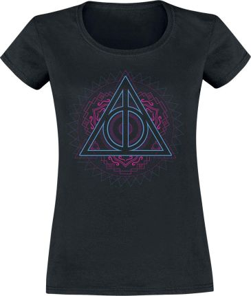 Harry Potter - Neon Deathly Hallows - T-Shirt - Czarny