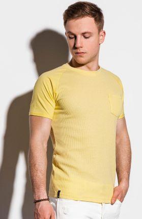 Ombre Clothing T-shirt męski bez nadruku S1182 - żÓłty - S - Ceny i opinie T-shirty i koszulki męskie HKMW