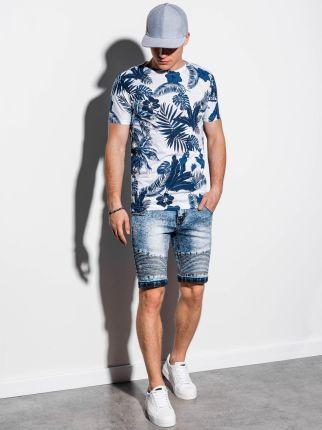 Ombre Clothing T-shirt męski z nadrukiem S1297 - granatowy - XXL - Ceny i opinie T-shirty i koszulki męskie PHCC