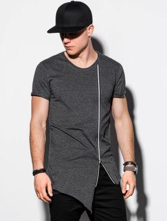 T shirt męski bez nadruku S1217 grafitowy S - Ceny i opinie T-shirty i koszulki męskie QQXE