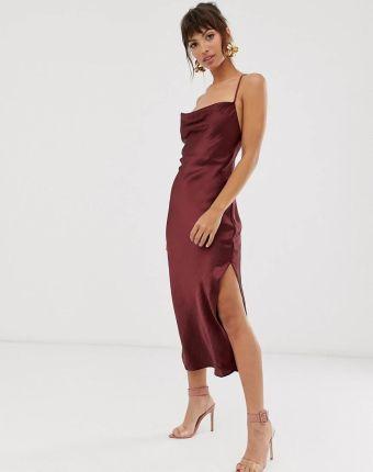 Asos Design Blyszczaca Satynowa Sukienka Midi Na Naramkach Z Wiazanym Tylem Fioletowy Ceny I Opinie Ceneo Pl