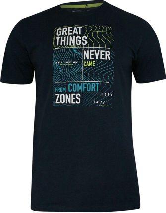 T-shirt Bawełniany, Granatowy z Nadrukiem, KrÓtki Rękaw, U-neck -PAKO JEANS- Męski TSPJNS7GREATgr - Ceny i opinie T-shirty i koszulki męskie KGAB