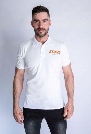 Koszulka polo męska, biała Just Cavalli - złoto srebrne logo - Ceny i opinie T-shirty i koszulki męskie ZPNJ