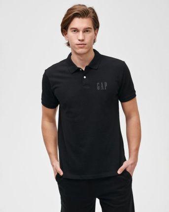 GAP Logo Polo Koszulka Czarny - Ceny i opinie T-shirty i koszulki męskie OXVK