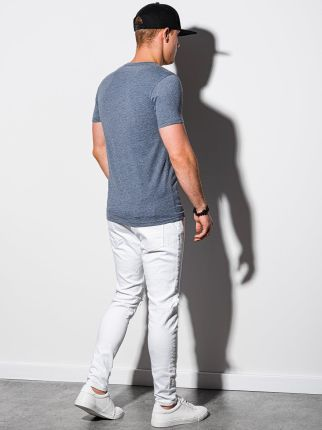 T shirt męski basic S1369 niebieski melanż S - Ceny i opinie T-shirty i koszulki męskie NVHN