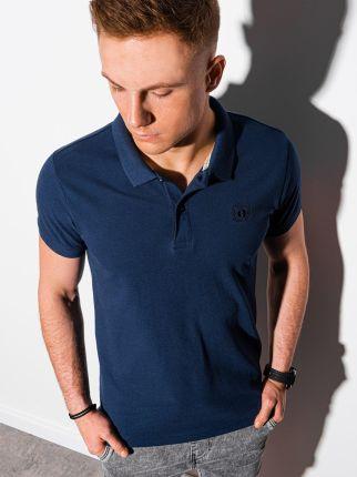 Koszulka męska polo bez nadruku S1374 granatowa S - Ceny i opinie T-shirty i koszulki męskie UPNZ