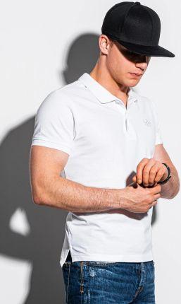 Koszulka męska polo bez nadruku S1374 biały L - Ceny i opinie T-shirty i koszulki męskie GSVR