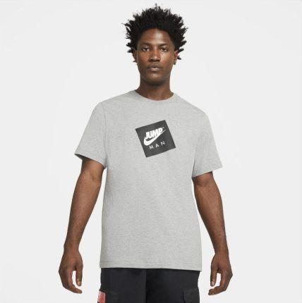 Jordan Męski T shirt z krÓtkim rękawem Jordan Jumpman Box Szary - Ceny i opinie T-shirty i koszulki męskie LDDA