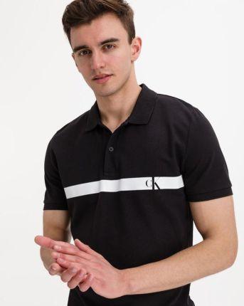 Calvin Klein Horizontal Panel Polo Koszulka Czarny - Ceny i opinie T-shirty i koszulki męskie CRUC
