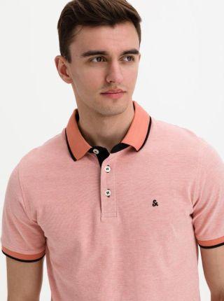 Jack & Jones Paulos Polo Koszulka RÓżowy Pomarańczowy - Ceny i opinie T-shirty i koszulki męskie MXLX