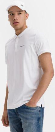 Calvin Klein Micro Branding Liquid Polo Koszulka Biały - Ceny i opinie T-shirty i koszulki męskie GHVQ