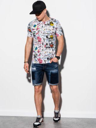 T-shirt męski z nadrukiem S1291 - biały - S - Ceny i opinie T-shirty i koszulki męskie VKPG