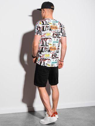 T shirt męski z nadrukiem S1418 biały S - Ceny i opinie T-shirty i koszulki męskie XKIH